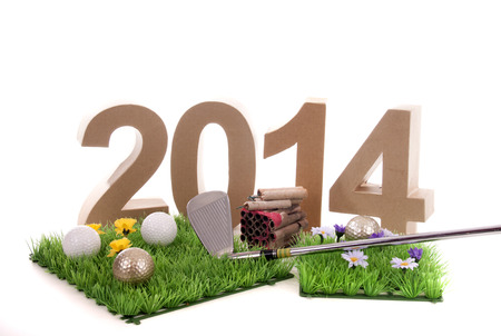 Golfstick and green symbolizes golfsport in the New year Stock Photo - 24051305