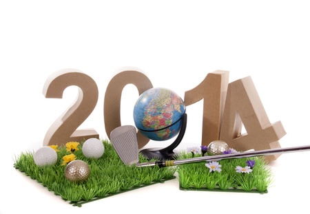 mondial: Golfstick and green symbolizes golfsport in the New year