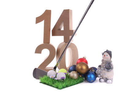 christmas golf: Best whishes for golfers in 2014   Stock Photo
