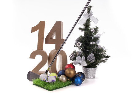 Best whishes for golfers in 2014 Stock Photo - 24658853