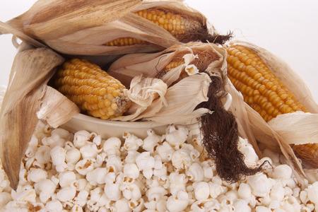 Mais and popcorn against white photo