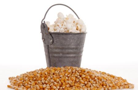 mais: Mais in a bucket against white Stock Photo