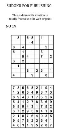 Sudoku met oplossing. Vrij te gebruiken op uw website of in print. Zoek naar aantal in serie Stockfoto