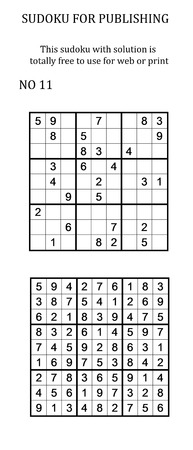 pastimes: Sudoku with solution. Free to use on your website or in print. Search for number in series