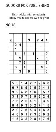 Sudoku met oplossing. Vrij te gebruiken op uw website of in print. Zoeken naar aantal in serie Stockfoto