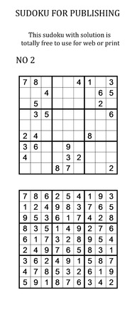 sudoku: Sudoku with solution. Free to use on your website or in print. Search for number in series