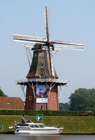 Netherlands, Friesland,juni,2016: Widmill Zeldenrust in Dokkum Editorial