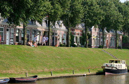ee: Netherlands, Friesland,juni,2016: Dokkumer Ee a river in Dokkum