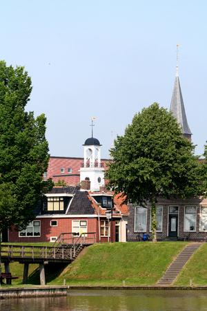 ee: Netherlands, Friesland,juni,2016: Tower of the City-hall of Dokkum Editorial