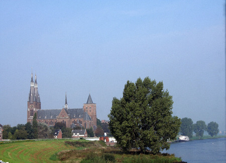 maas: Netherlands,Cuijk,july 2016: The Saint Martins Church is a church with a double Tower in Dutch place Cuijk