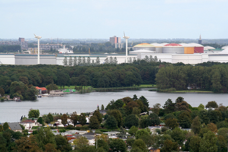 holland: Netherlands, Brielle, june 2016: Brielle is an old historic fortress Overview on Rotterdam port en chemistry Editorial