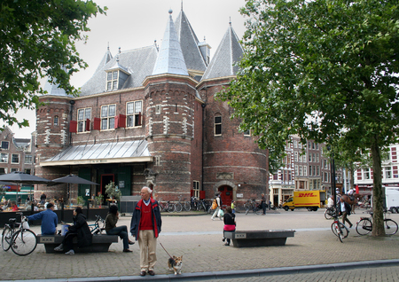 holland: Netherlands, Amsterdam,june 2016: The Waag (weigh house) is a 15th-century building on Nieuwmarkt square in Amsterdam. It was originally a city gate and part of the walls of Amsterdam. Editorial