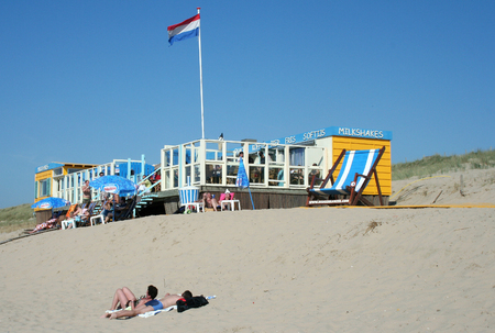 Netherlands,Bergen aan Zee, june 2016: beach-house, restaurant, café, along the Dutch North Sea cost in the summertime Editorial