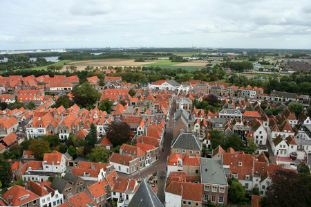 holland: Netherlands, Brielle, june 2016: Brielle is an old historic fortress. Bird eye view from the tower