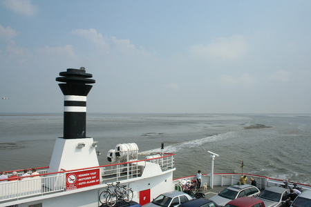 Netherlands,waddenzee,-june 2016:Ferry sails a couple of times a day