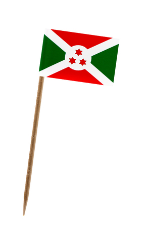 Tooth pick wit a small paper flag of Burundi