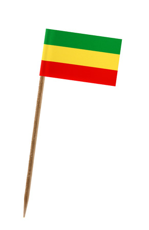 national flag ethiopia: Tooth pick wit a small paper flag of Ethiopia Stock Photo