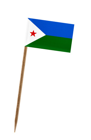 Tooth pick wit a small paper flag of Djibouti Stock Photo