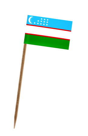 toothpick: Tooth pick wit a small paper flag of Uzbekistan Stock Photo