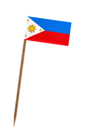 Tooth pick wit a small paper flag of Philippines