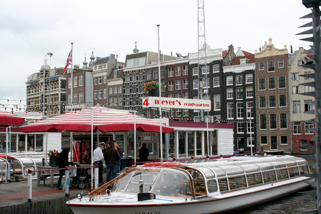 streetlife: Netherlands, Amsterdam,june 2016: Canal-boats mooring in the centre of amsterdam