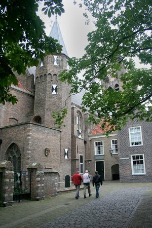 Delft, june 2016: Street, impression,city live, the building, William oif Orange was killed