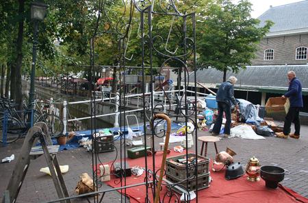 Delft, june 2016: Street, impression,city live, flee market in the city Editorial