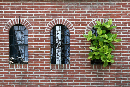 Church wall in Dokkum, a  town. Stock Photo