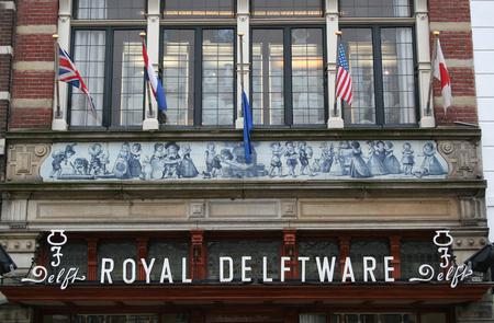 Delft, june 2016: Street, impression,city live,delfts blue in the shops Editorial