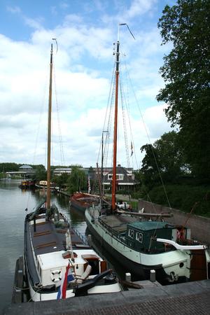 Netherlands, Gorinchem, Gorkum, June 2016: houseboats in the ferry port
