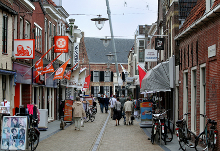 Friesland,Franeker,july 2016: a shopping street in the centre