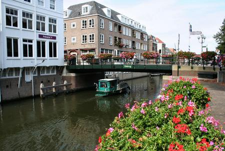 Netherlands, Gorinchem, Gorkum, June 2016, houses with hanging kitchens and streetview along Rivier de Linge Editorial