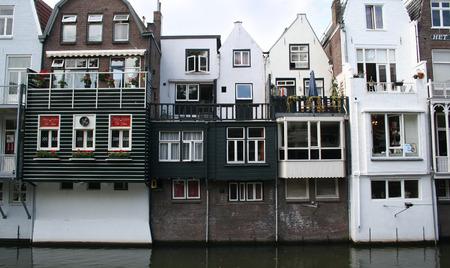 Netherlands, Gorinchem, Gorkum, June 2016:  houses with hanging kitchens and streetview along Rivier de Linge