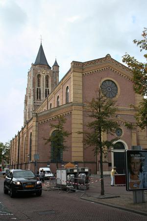 Netherlands, Gorinchem, Gorkum, June 2016:  The great tower Protestant Reformation church