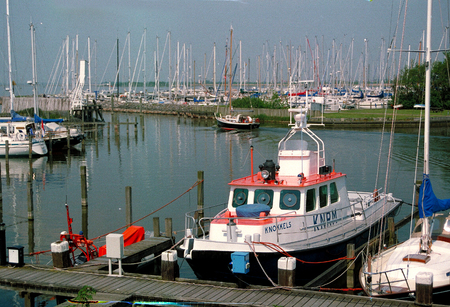 Netherlands, Hindloopen,-june 2016: Marina,harbor with the rescue service