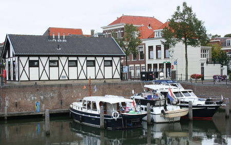 Netherlands, Gorinchem, Gorkum, June 2016: houses and streetview in the ferry port