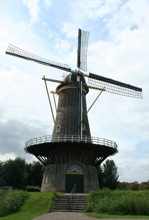 Netherlands, Gorinchem, Gorkum, June 2016:  Korenmolen De Hoop near the ferry port