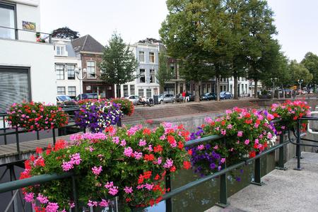 Netherlands, Gorinchem, Gorkum, June 2016: houses and streetview along Rivier de Linge