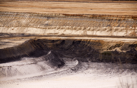 Germany, North Rhine Westphalia, -june 2017:  ground excavator in action moving mullock and soil at open pit coal mine; Germany,for winning brown coal