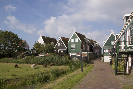 Netherlands,North Holland,Marken, june2016: Residential area, on elevated ground, Yard called 写真素材