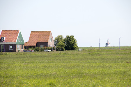 Netherlands,North Holland,Marken, june2016: meadows and rural land in the island of Marken 報道画像
