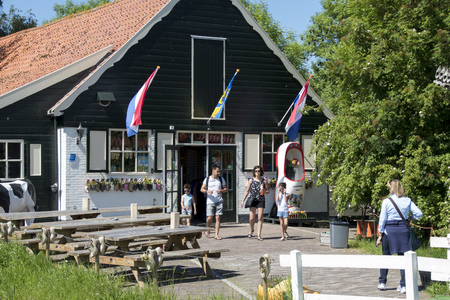 Netherlands,North Holland,Marken, june2016: people shopping at souvenir shop