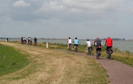 Netherlands,North Holland,Marken, june2016: group of bikers on the island Marken