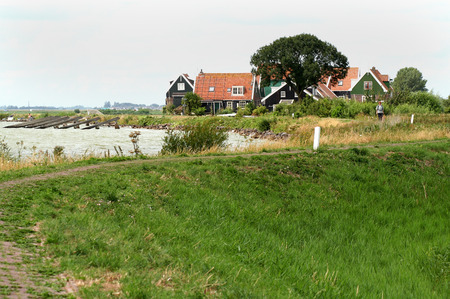Netherlands,North Holland,Marken, june2016: coastal road of  the island of Marken