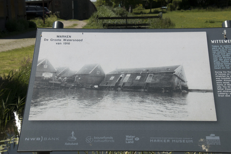 Netherlands,North Holland,Marken, june2016: Billboard with picture of the past of Marken