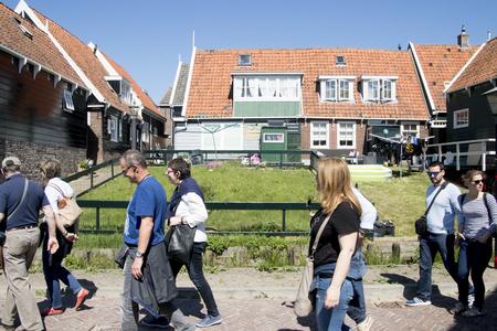 Netherlands,North Holland,Marken, june2016: Mass tourism in the village 新闻类图片