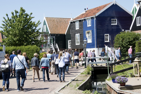 Netherlands,North Holland,Marken, june2016: Mass tourism in the village 写真素材