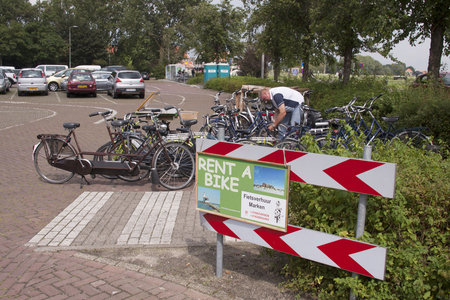 Netherlands,North Holland,Marken, june2016: Bicycles can be rented in the tourist Marken