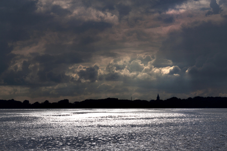 Netherlands,North Holland,Marken, june2016: Skyline seen from Marken Volendam 写真素材