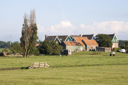 Netherlands,North Holland,Marken, june2016: Residential area, on elevated ground, Yard called 報道画像